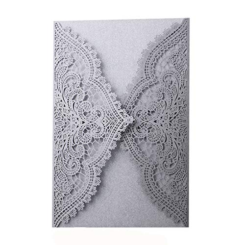 24pcs Laser Cut Wedding Invitations with Lace and Hollow Parttern,Paper Wedding Cards for Baby Shower Bridal Shower Engagement Birthday Fancy ()