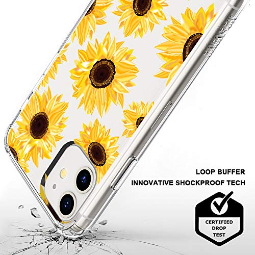 MOSNOVO Sunflower Floral Flower Pattern Designed for iPhone 11 Case,Clear Case with Design Girls Women,TPU Bumper with Protective Hard Case Cover
