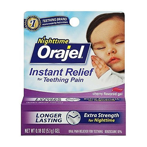 Orajel Nighttime Instant Relief Gel for Teething Pain - Cherry Flavored - Longer Lasting & Extra Strength for Nighttime - Net Wt 0.18 OZ (5.1 g) - Pack of 2 by Orajel
