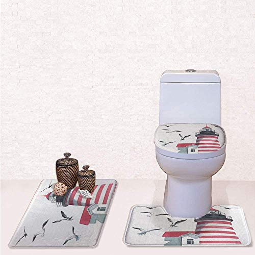 Print 3 Pcss Bathroom Rug Set Contour Mat Toilet Seat Cover,Lighthouse and Seagulls on the Beach Navigational Aid on Seaside Waterways Art with Red Grey White,decorate bathroom,entrance door,kitche