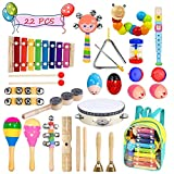 Toddler Musical Instruments- LEKETI 15 Types 22pcs Wooden Toddler Musical Percussion Instruments Toy Set for Kids Preschool Educational, Musical Toys Set for Boys and Girls with Storage Backpack