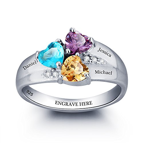 Diamondido Personalized Mom Rings with Children Sumilated Birthstones and Names Family Jewelry (10) (3 Stone Setting)
