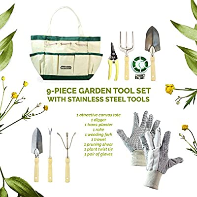 GardenHOME 9 Piece Stainless Steel Garden Tool Set with Gardening Tote, Work Gloves pair, 7 Hand Tools with Ergonomic Handles including Rake, Pruning Shear, weeding fork and Sizable Garden Tote Bag