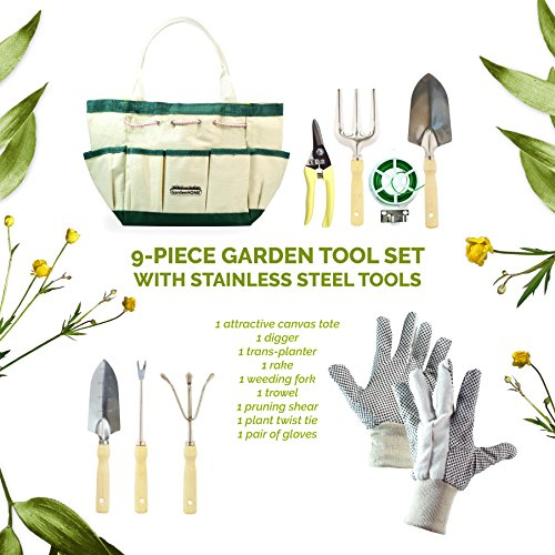 GardenHOME 9 Piece Garden Tool Set with 7 Ergonomic Gardening Tools Set, Sizable Garden Tote Bag and 1 pair Gloves