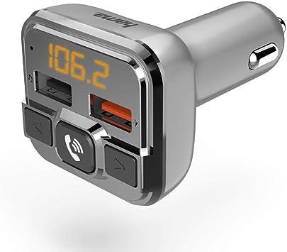 Hama Bluetooth Fm Transmitter Fürs Autoradio Mit Kfz Ladegerät Freisprecheinrichtung Auto Adapter Für Zigarettenanzünder Buchse Mit Anschlüssen Für Microsd Usb Stick Und Qc 3 0 Zum Laden Silber Navigation