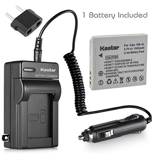 Kastar Battery + Charger for Canon NB-4L NB4L CB-2LV 2LVE and Digital IXUS 30 40 50 55 60 65 75 Digital IXUS i Zoom Digital IXUS i7 Zoom Cameras ()
