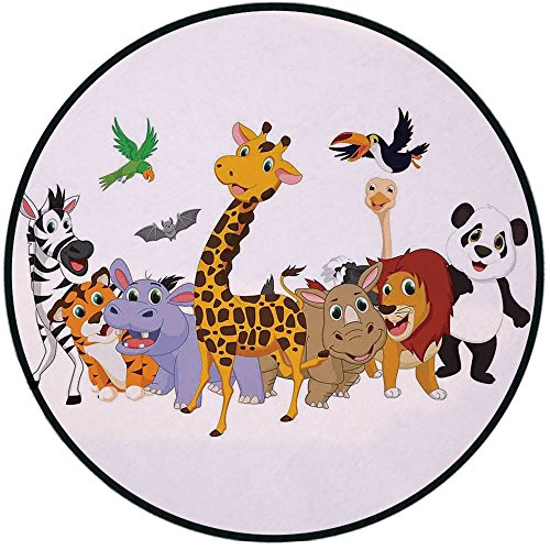 Printing Round Rug,Kids,Colorful Jungle Animals Hippo Bat Parrot Giraffe Zebra Rhino Panda African Safari Themed Decorations Decorative Mat Non-Slip Soft Entrance Mat Door Floor Rug Area Rug For Chair