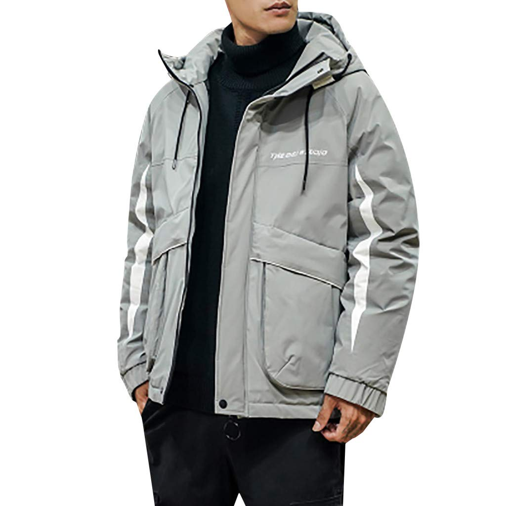 wuliLINL Mens Cotton Down Jacket Solid Color Hooded Winter Coat Lightweight Winter Warm Outwear(Gray,XXXXXL) by wuliLINL