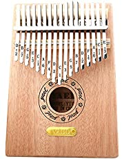 Kalimba 17 Keys Thumb Piano Solid Finger Piano Mahogany Body with Tuning Hammer Study Instruction - Best Birthday Christmas Gift for Music Fans Kids Adults