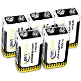 9V Lithium Battery, Keenstone 5Pcs 1200mAh Lithium Non-Rechargeable Primary Batteries Ultra High Performance -Low Self-Discharge -High Energy Density with PTC Protected for Smoke Detectors