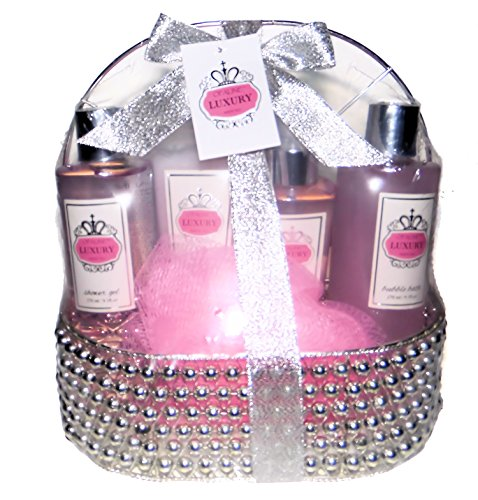 Bath Spa Gift Set - Shower Gel, Body Lotion, Bubble Bath, Bath Salt, in a Reuseable Tray