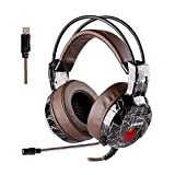 XIBERIA Gaming Headset with Microphone USB Over Ear Wired Surround Sound Computer Headphones Volume Control Enhanced Bass Noise Canceling with LED Light for Playstation 4,Laptop and PC (Brown)