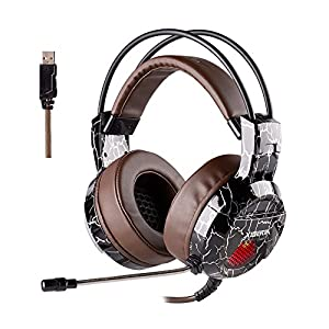 USB Gaming Headset with Microphone for PC PS4, Over Ear Wired Surround Sound Computer Headphones, Volume Control Enhanced Bass Noise Canceling Flexible Headband with LED Light for Laptop, Mac (Brown)