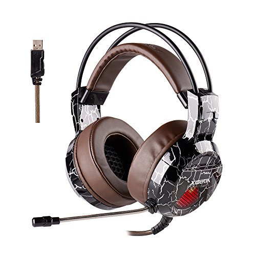 51W4WfHDMXL - XIBERIA Gaming Headset with Microphone Over Ear Wired Surround Sound Computer Headphones Volume Control Enhanced Bass Noise Canceling with LED Light for Playstation 4,Laptop and PC (Brown)