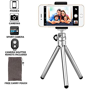 Phone Camera Tripod, UBeesize Compact Aluminum Tripod with Bluetooth Shutter Remote and Universal Phone Mount, Lightweight Small Portable Tripod Stand Holder for Camera, iPhone, Tripod Bag Included