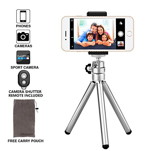 Phone Camera Tripod, UBeesize Compact Aluminum Tripod with Bluetooth Shutter Remote and Universal Phone Mount, Lightweight Small Portable Tripod Stand Holder for Camera, iPhone, Tripod Bag Included Image