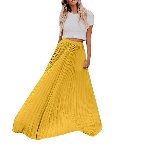 Falda Mujer Color sólido Cintura Alta Elástica Plisada Básica ...