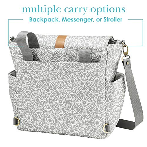 JJ Cole - Backpack, Gender Neutral Large Capacity Diaper Bag, Multifunctional, Stylish, with Stroller Clips and Changing Pad, Grey Moroccan
