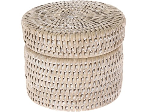 KOUBOO 1030048 La Jolla Round Rattan Container with Plastic Insert and Twist-Off Lid, Small, White Wash, 4.75 x 4.75 x 4