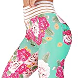 Womens Ruched Butt Lifting Leggings Floral High Waisted Workout Sport Tummy Control Gym Yoga Pants