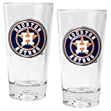 MLB Houston Astros Pint Glass Set with Baseball Sculpted Base (2-Piece), 16-Ounce, Clear