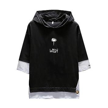 Fannyfuny T Shirt Hoodies Top Herren Basic Kapuzenpullover Casual Blumendruck Rundhals Kurzarm Tee Lose Oversize Shortsleeve Tops Blusen Tuniken Mode