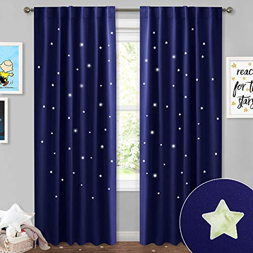 Set Outs Cut - NICETOWN Blue Curtains for Kids Nursery - Naptime Essential Nursery Draperies, Creative Window Drapes with Star Cut Out Design for Cosmic Themed Kids Room (Dark Blue, Set of 2, W52 x L84-Inch)