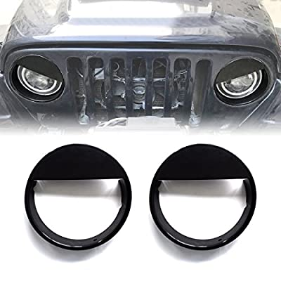 Extreme Off-Road Jeep Wrangler Headlight Cover Headlight Bezel Headlight Trim Black for Jeep Wrangler Accessories TJ 1997-2006 - Matte Black(ABS)