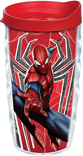 Tervis 1224647 Marvel - Spider-Man Red Spider Tumbler with Wrap and Red Lid 10oz Wavy, Clear