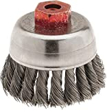Weiler - 2-3/4'' Diam, M10x1.50 Threaded Arbor, Knotted Steel Cup Brush - 0.014'' Filament Diam, 14,000 Max RPM (3 Pack)