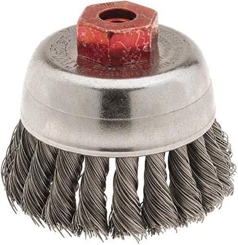 Weiler - 2-3/4'' Diam, M10x1.50 Threaded Arbor, Knotted Steel Cup Brush - 0.014'' Filament Diam, 14,000 Max RPM (3 Pack)