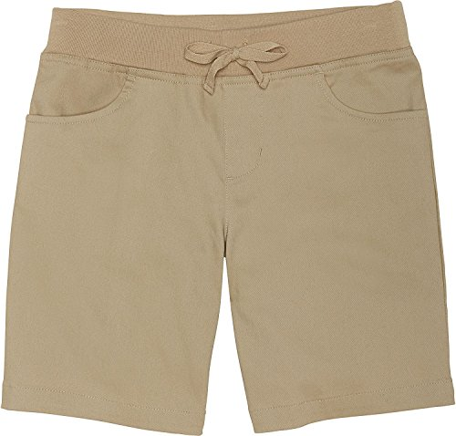 French Toast Girls' Big Stretch Pull-On Tie Front Short, Khaki, 10 by French Toast