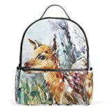 Laptop Backpack Lightweight Waterproof Travel Backpack with Wild Watercolor Baby Deer School Bag Laptop Bookbag Daypack for Women Men Kids