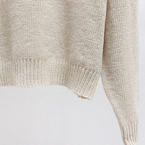 Manches Hiver Unie Col Longues Sweater Chandail Tricot Femme Zhiyuanan Rond Couleur Loose qXBxHXUa