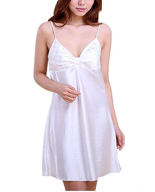 355cf2af1 Noche De Mujeres Que Se Calientan Satén Negligee Moda Vestido De Dormir  Vestido De Noche Sin Mangas con Cuello En V Pijama con Eslinga (Color    Blanco