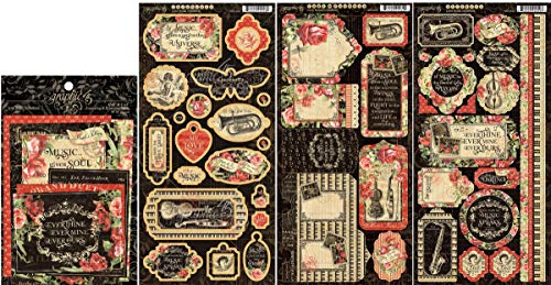 Graphic 45 - Love Notes Collection - Chipboard Die-Cuts, Cardstock Tags & Pockets, Stickers and Ephemera Cards - 4 Items