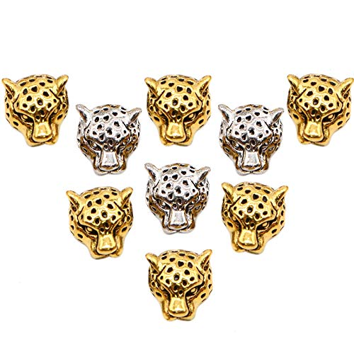 WSSROGY 24 Pack Leopard Charm Animal Beads 10mmx12mm Alloy Leopard Head Beads Antique Gold Tibetan Silver Spacer Beads for Bracelet Jewelry Making