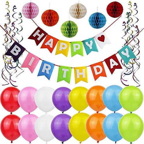 Birthday Decorations, Yancan Colorful Happy Birthday Decorations for Kids, Happy Birthday Banner, DIY Paper Honeycomb for 1 Birthday Decorations, Party Swirls, Birthday Balloons for Girls ...]()