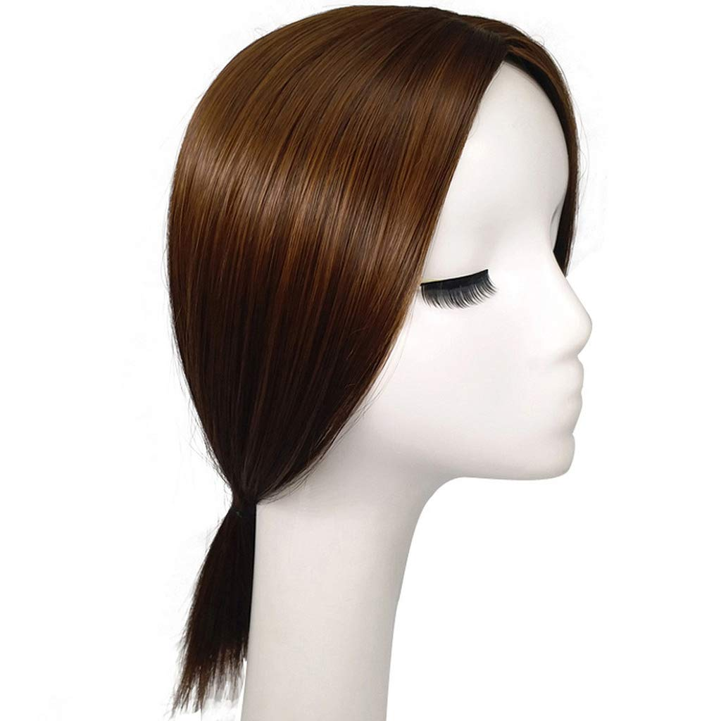 Olaya Middle Part Synthetic Hair Mono Topper 14 Clip in Volume Top Hair Piece with Scalp Light Brown