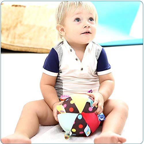 Stuffed Animal Multi Sensory Toy for Baby Kids Toddlers Infants StoHua Baby Colorful Tag Ball Ribbon Tag Ball Soft Plush Rattle Ball Toy for Early Educational