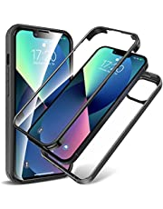 KKM iPhone 13 Case, Full Body Rugged Case with Built-in Screen Protector & Tempered Glass Camera Lens Protector, Shockproof Bumper, Crystal Clear, Anti-Yellowing Cover for iPhone 13 6.1-Inch 2021