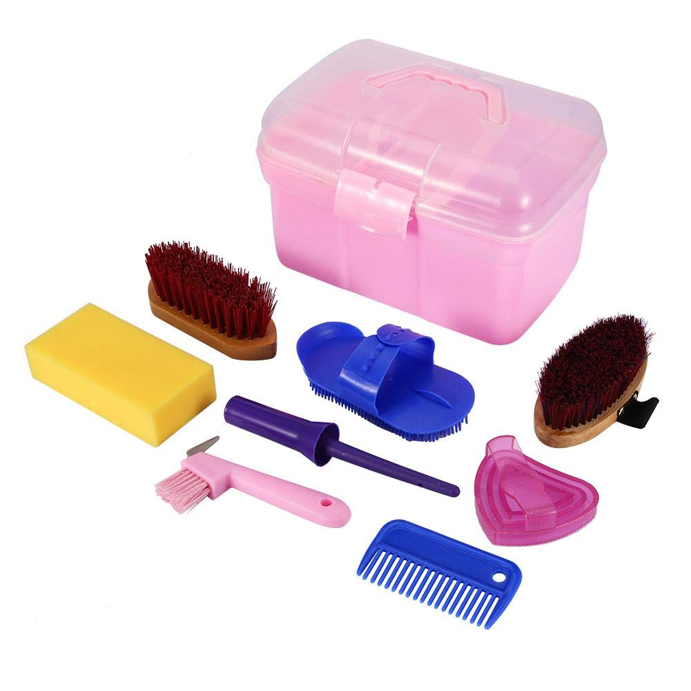 Fdit Horse Grooming Care Kit Equestrain Rider Brush Curry Comb Horse Cleaning Tool Set Sportsman Athlete with Box 8Pcs