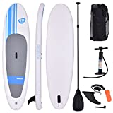Goplus Inflatable 10' Cruiser SUP StandUp Paddle Board Package w/ Leash Fin Adjustable Paddle Pump Kit Carry Backpack, 6' Thick