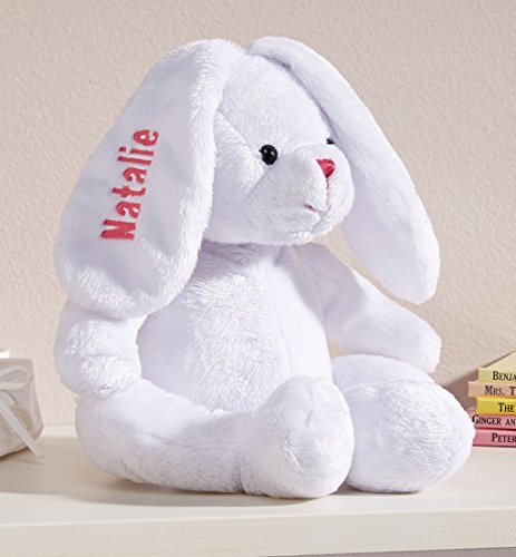 Personalized White Plush Bunny -Customized Stuffed Animal Children Easter Gift - Embroidered Floppy Ear Bunny with Child Name in Pink Font]()