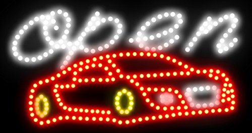 CHENXI LED Business Open Car Wash Sign Open Bright Light with On/off Switch Gas Station Neon 60 X 33 CM (60 X 33, car-02)