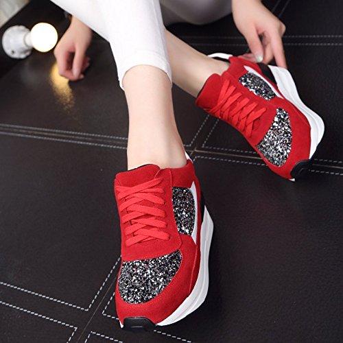 HBDLH Damenschuhe Frühjahr und Herbst Leder Sportschuhe Sportschuhe Sportschuhe Frauen Schuhe mit Dicken Hintern und Spitzen auf Casual Schuhen. e4e7d2