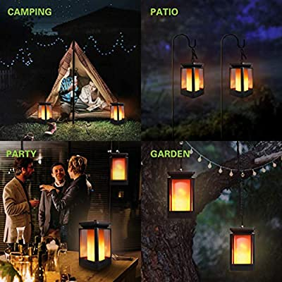COCOMOX Solar Lights, Outdoor Hanging Solar Lanterns Dancing Flame Flickering LED Waterproof Garden Landscape Night Lights 99 LEDs Yellow Decoration for Patio Lawn Backyard Path
