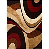 Home Dynamix Tribeca Slade Area Rug | Contemporary Living Room Rug | Bold Abstract Design | Warm-Inviting Feel | Brown, Red 9'2″ x 12'5″ Review