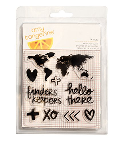 American Crafts 9 Piece Amy Tan Finders Keepers Acrylic Stamps Map Stamp Keeper