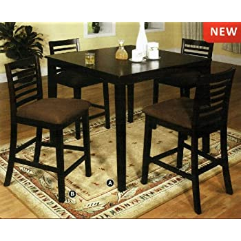 5 pc eaton ii style espresso wood finish counter height dining table set